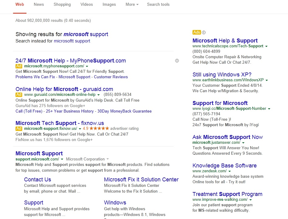 Google Search for Microsoft Support.